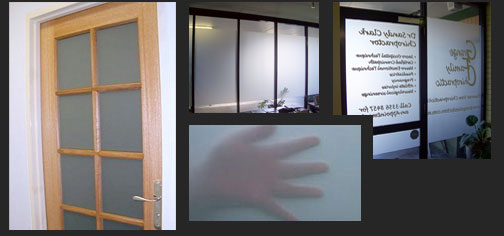 Various types of office window frosting.